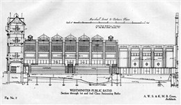 Photo:Plan showing section through 1st and 2nd class swimming baths at Marshall Street Baths by architects Alfred W S Cross and Kenneth M B Cross, 1931