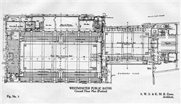 Photo:Ground floor plan of the swimming bath at Marshall Street Baths by architects Alfred W S Cross and Kenneth M B Cross, 1931