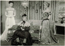 "Photo:Pamela Rutland, Peter Tuddenham, Ann Stevenson in ""Charley's Aunt"" at the  Dundee Repertory Theatre, 1951."
