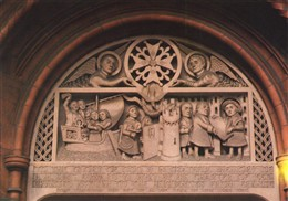 Photo:Carved relief above doorway of the French Protestant Church, Soho Square. This stone relief was erected at the church in 1950, to celebrate the 400th anniversary of the opening of the first French Protestant Church in Threadneedle Street in 1550. It shows the Huguenots leaving France, arriving at Dover and receiving a charter from King Edward VI granting them asylum.